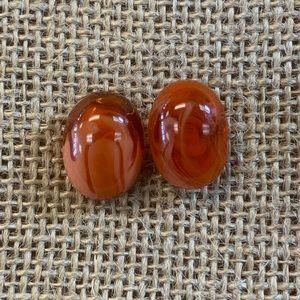 Jewelry - Vintage Orange Marble Plastic Oval Cab Earrings